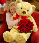 Big Bear with One Dozen Roses